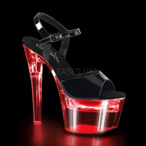 Laklæder 18 cm FLASHDANCE-709 stripper sandaler poledance sko LED pære
