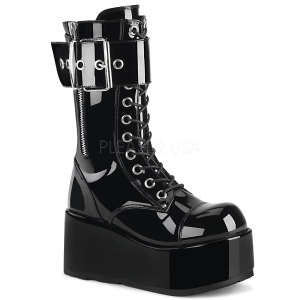 Laklæder 9,5 cm PETROL-150 demonia støvler - unisex plateaustøvler