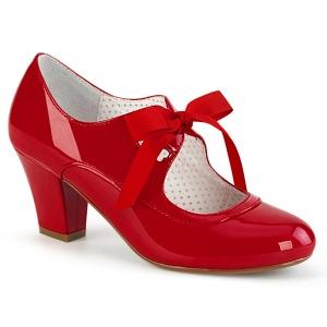 Laklæder Rød 6,5 cm WIGGLE-32 retro vintage maryjane pumps med blokhæl