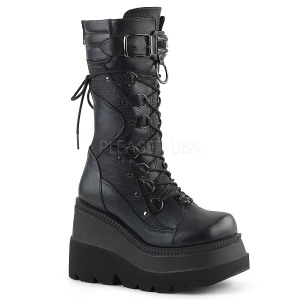 Leatherette 11,5 cm SHAKER-70 Black punk boots with laces