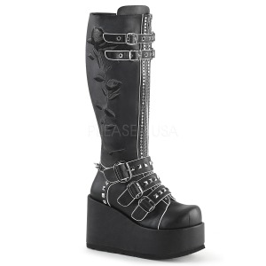 Leatherette 11 cm CONCORD-110 womens buckle boots with platform