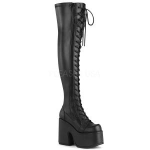Leatherette 12,5 cm CAMEL-300 Platform Thigh High Boots
