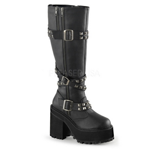 Leatherette 12 cm ASSAULT-203 womens buckle boots with platform
