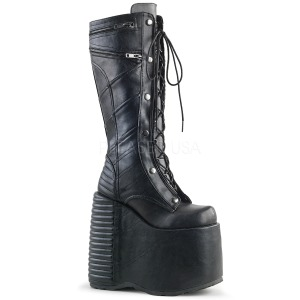 Leatherette 18 cm SLAY-320 womens buckle boots with platform