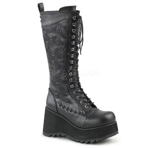 Leatherette 9 cm SCENE-107 Black punk boots with laces