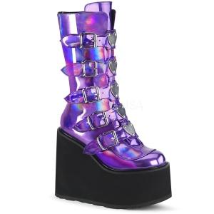 Lilla Hologram 14 cm SWING-230 cyberpunk plateaustøvler