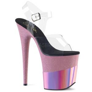 Lyserød 20 cm FLAMINGO-808-2HGM glitter plateau sandaler sko