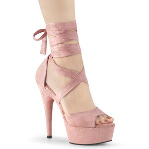 Lyserød Kunstlæder 15 cm DELIGHT-679 høje hæle med ankel snørebånd