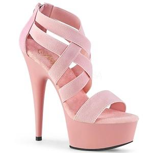 Lyserød elastisk bånd 15 cm DELIGHT-669 pleaser sko med høj hæl
