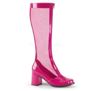 Pink 8,5 cm GOGO-307 grid støvler til damer med høj hæl