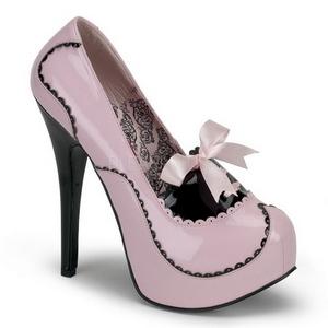 Pink Lak 14,5 cm Burlesque BORDELLO TEEZE-01 Høje Hæle Pumps Plateau
