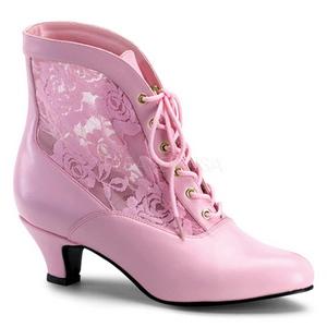 Pink blonder stof 5 cm DAME-05 Dame Ankel Støvler med Snørebånd