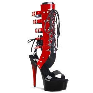 Red 15 cm DELIGHT-600-38 knee high womens gladiator sandals