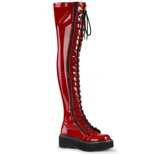 Red Patent 5 cm EMILY-375 overknee boots with laces