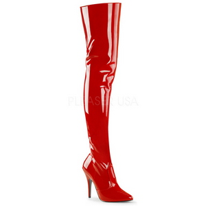 Red Shiny 13 cm SEDUCE-3010 Overknee Boots Flat Heels