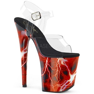 Rød 20 cm FLAMINGO-808STORM Hologram plateau high heels sko
