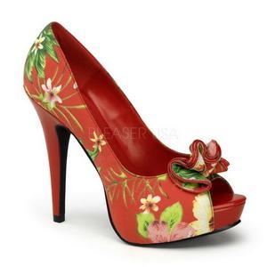 Rød Blomstret 13 cm LOLITA-11 damesko med høj hæl