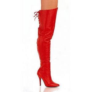 Rød Læder 13 cm LEGEND-8899 overknee støvler med hæl