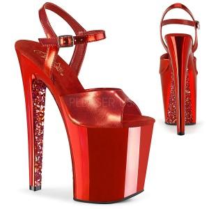 Rød krom plateau 20 cm XTREME-809TTG pleaser høje hæle