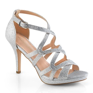 Silver 9,5 cm DAPHNE-42 High Heeled Stiletto Sandals
