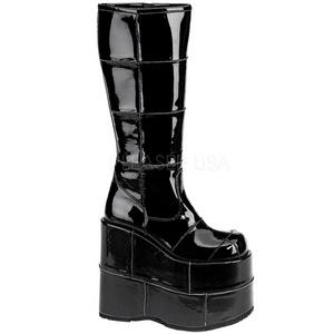 Skinnende 18 cm STACK-301 Plateau Gothic Støvler til Mænd