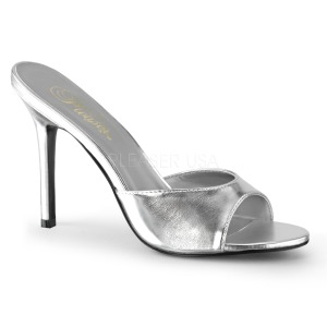 Sølv 10 cm CLASSIQUE-01 dame mules med høje hæl