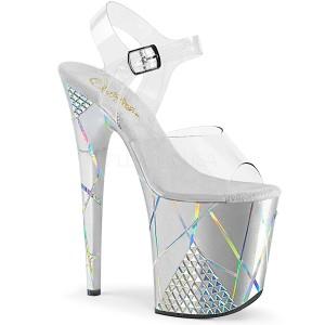 Sølv 20 cm FLAMINGO-808SHAPE-1 Hologram plateau high heels sko