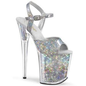 Sølv 20 cm FLAMINGO-809HS Hologram plateau high heels sko