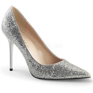 Sølv Glimmer 10 cm CLASSIQUE-20 Dame Pumps Stilethæle Sko