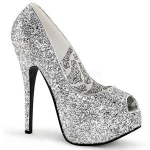 Sølv Glitter 14,5 cm Burlesque BORDELLO TEEZE-22G Høje Hæle Pumps Plateau