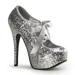 Sølv Glitter 14,5 cm Burlesque TEEZE-10G Platform Pumps Sko