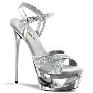 Sølv Glitter 16,5 cm Pleaser ECLIPSE-619G højhælede plateausandaler