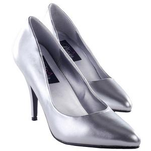 Sølv Mat 10 cm VANITY-420 spidse pumps med høje hæle
