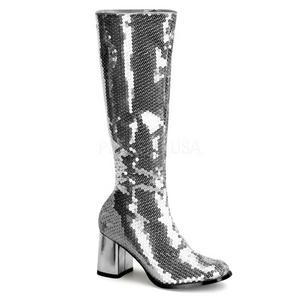 Sølv Pailletter 8 cm SPECTACUL-300SQ Høje Damestøvler til Mænd