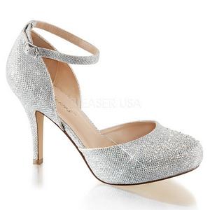 Sølv Strass 9 cm COVET-03 klassisk pumps sko til damer