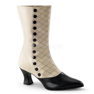 Sort Beige 7 cm VICTORIAN-123 Dame Ankelstøvler