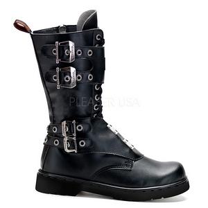 Sort Kunstlæder DEFIANT-302 Støvler til Mænd med spenner