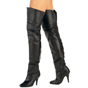 Sort Læder 10,5 cm LEGEND-8868 overknee støvler med hæl