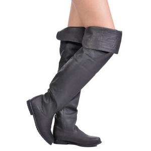Sort Læder 8 cm RAVEN-8826 overknee støvler med hæl