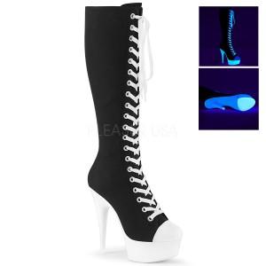 Sort Neon 15 cm DELIGHT-2000SK canvas støvler med høje hæle