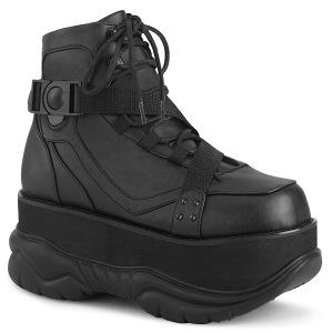 Sort Vegan 7,5 cm NEPTUNE-181 demonia ankelstøvler - unisex cyberpunk ankelstøvler