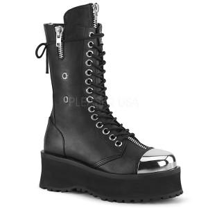 Sort Vegan 7 cm GRAVEDIGGER-14 demonia støvler - unisex plateaustøvler