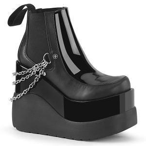 Sorte vegan boots 13 cm VOID-50 demonia støvler med kilehæle