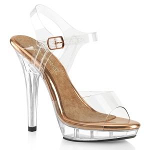 Transparent 13 cm LIP-108 poserer sko - bikini fitness konkurrence høje hæle