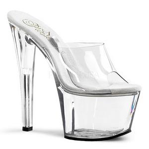 Transparent 18 cm TREASURE-701 tip jar platform stripper mules shoes