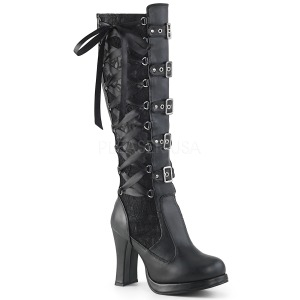 Vegan 10 cm CRYPTO-106 buckle womens boots with platform