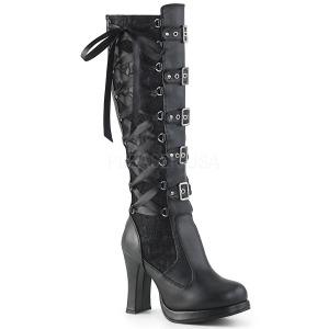 Vegan 10 cm CRYPTO-106 plateau damestøvler med spænder