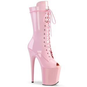 Vegan 20 cm FLAMINGO-1051 åben tå ankelstøvler - højhælede støvler rosa
