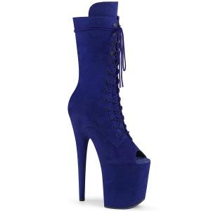 Vegan 20 cm FLAMINGO-1051FS åben tå ankelstøvler - højhælede støvler blå