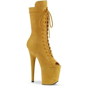 Vegan 20 cm FLAMINGO-1051FS åben tå ankelstøvler - højhælede støvler gul